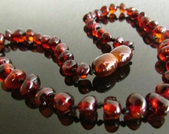 Beautiful Baltic Amber Necklace Rubin Colour