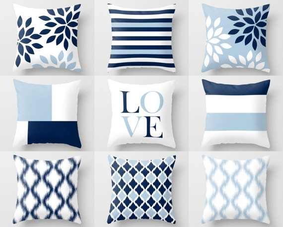 Throw Pillow Covers Light Blue White Navy Blue Pillow