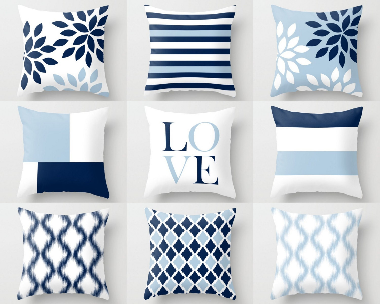 Light Blue Throw Pillow Covers : Throw Pillow Covers Light Blue White Navy Blue Pillow
