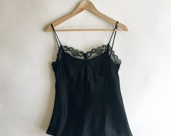 Vintage Minimal Modern Silk Blend Black Lace Camisole Size Small