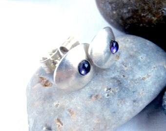 Amethyst Earrings - Sterling Silver - Oval - Stud Earrings - Vintage Jewellery