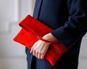 Custom order!Handmade red suede fold over leather clutch. Clutches & Evening Bags Foldover bag