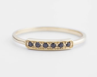 pave black diamond wedding ring, black diamond bar ring, 14k gold, rose gold, white gold, horizontal bar ring, diamond stack rings,bar-r105