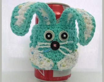 Rabbit Soda or Beer Can Cozy Crochet Pattern - Easter Rabbit Can Cozy Pattern