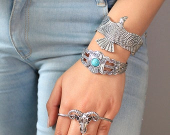 Silver Turquoise Cuff/Turquoise Silver Bracelet/ Bohemian Bracelet / Boho Turquoise Cuff Bracelet