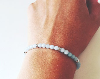 Bracelet Amazonite with silver rings 925