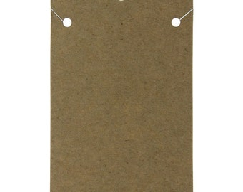 """Hanging Necklace Card Kraft Paper Covered 2 x 4"""" """"PLAIN"""" (Pkg of 100)  (DCH750)"""