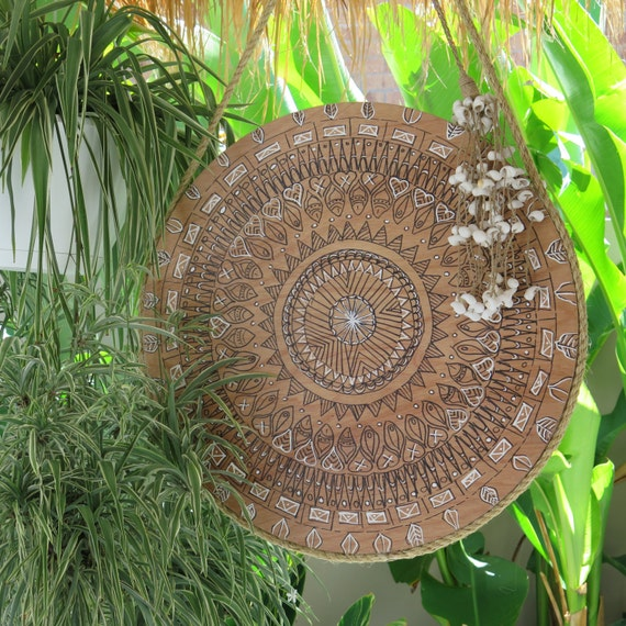 Retro Mandala Black and White Round Wall Art, Boho Design,  Natural Timber Porthole