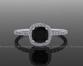 Halo Diamond Black Moissanite Engagement Ring Cushion Cut 14k White Gold Wedding Ring,  Re00082