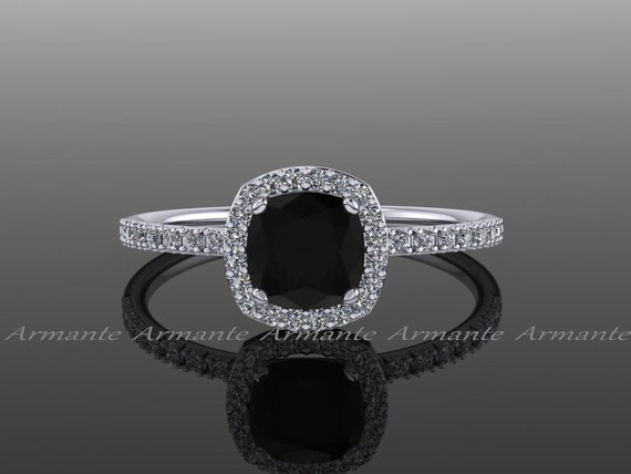 halo black moissanite engagement ring by armantedesign