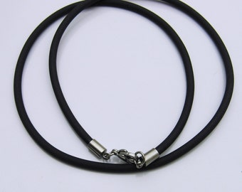 Rubber Cord Necklace, Black Rubber Cord, 3mm Round Rubber Cord, Men's Necklace, Man's Necklace, Necklace for Men, Active Lifestyle Necklace