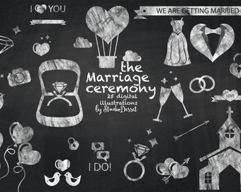 Wedding Cliparts Chalkboard, Valentine Cliparts, Love Clip Art, Wedding Icons, DIY Invitations, White Overlays C168