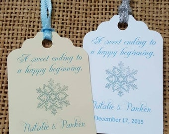 Personalized Favor Tags 2 1/2'', Wedding tags, Thank You tags, Favor tags, Gift tags, Bridal Shower Favor Tags, winter wonderland