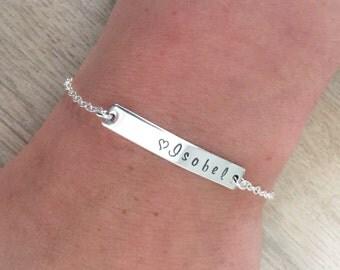 Personalised name bracelet ~ Silver Bar Bracelet, Hand stamped, sterling silver