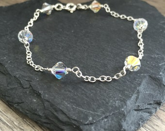 Swarovski Crystal Bracelet, Bridal, wedding, bridesmaid, AB crystal, sterling silver bracelet