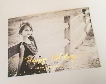Gold FOIL confetti Holiday Photo Card