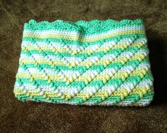Hand Crocheted Textured Baby Blanket / Hand Crocheted Textured Baby Afghan / Hand Crocheted Textured Baby Throw in Mint/Yellow/White