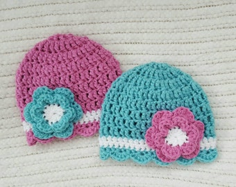 Crochet twin hats, twin baby gifts, baby girl gifts, newborn photo prop, 0-3 month twin gifts, twin baby hats, baby twin gifts, girl twins