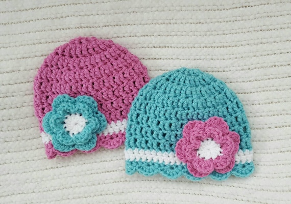 Crochet Hat Patterns For Twin Babies : Crochet twin hats twin baby gifts baby girl gifts newborn