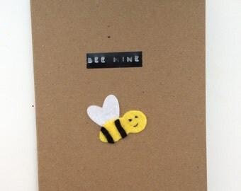 Felt bee valentines card, birthday card, anniversary card, celebration card