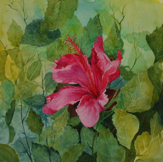 Art hibiscus watercolor painting original fine art painting for Bright flower painting