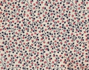 Navy Floral Calico Print Cotton Fabric / Fabric Traditions / 1 yard