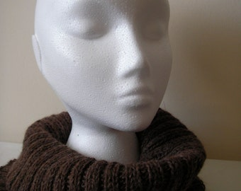 Hand knitted Alpaca Cowl - Brown