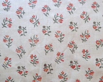 Williamsburg 18th Century Reproduction Cotton Fabric ~ by the piece ~ orange block-printed flowers ~ 1750-1790 Colonial Rev War (FAB-WW)