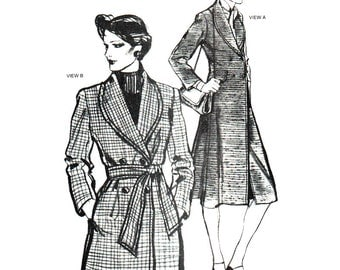 Stretch & Sew Sewing Pattern 1070 Double-Breasted Shawl Coat  Size:  28-44  Uncut