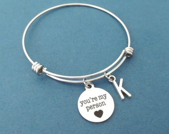 Personalized, Letter, Initial, You're my person, Heart, Silver, Bangle, Bracelet, Birthday, Friendship, Best friends, Grey's Gift, Jewelry