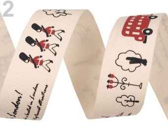 Cotton band for fans of Paris & London 25 mm