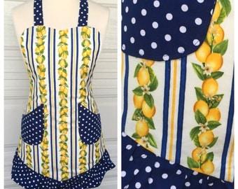 Apron Retro Full Lemon with Navy Blue Polka Dot Ruffle Aprons by Monique