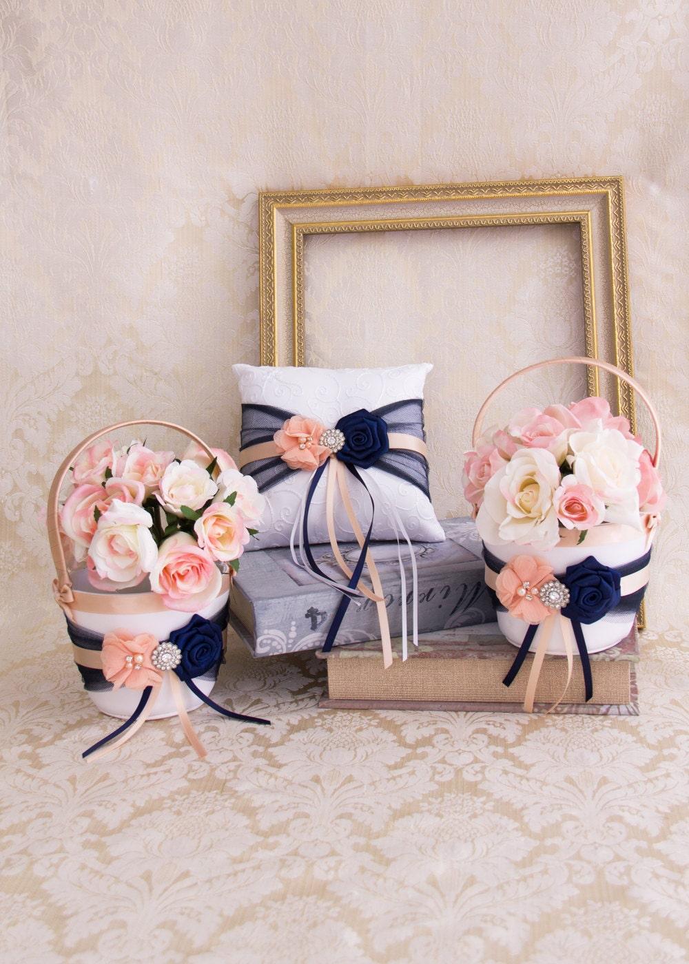 Flower Girl Basket Blush : Blush and navy blue flower girl basket ring bearer pillow