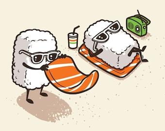 Summer Sushi Funny Cartoon Sushi Sunbathing on Beach - Rectangle Refrigerator Magnet MT - FM365 - 0064