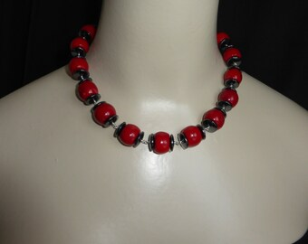 Red Coral and Haematite Vintage Style Necklace