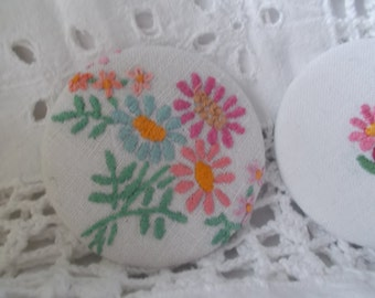 Vintage Embroidered Linen Handbag Mirror - pocket mirror, purse mirror, vintage linen