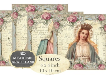 Madonna Shabby Chic Coaster Squares Holy Mary Holycards 4 x 4 inch Christmas Noel Relogious Instant Download digital collage sheet TG111