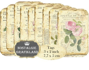 French Ephemera Tags Journal Magazin France Paris Vintage printable Instant Download digital collage sheet T114