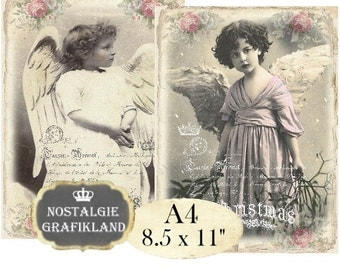 Angels French Shabby Chic Romantic Victorian Christmas Girls Photos Photography A4 Large Image Instant Download digital collage sheet A137