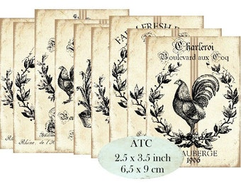 Farm Rooster Hen Eggs Poulet Le Coq Instant Download ATC digital collage sheet S181
