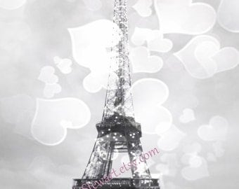 Eiffel Tower Print, Romantic Eiffel Tower Photo, in Black and White, with big hearts. Paris Print
