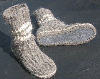 Men's home shoes, House boot slippers, Mens slipper socks, Hand knit woolen socks, Crochet slipper socks, Big size, Felt sole, Organic wool