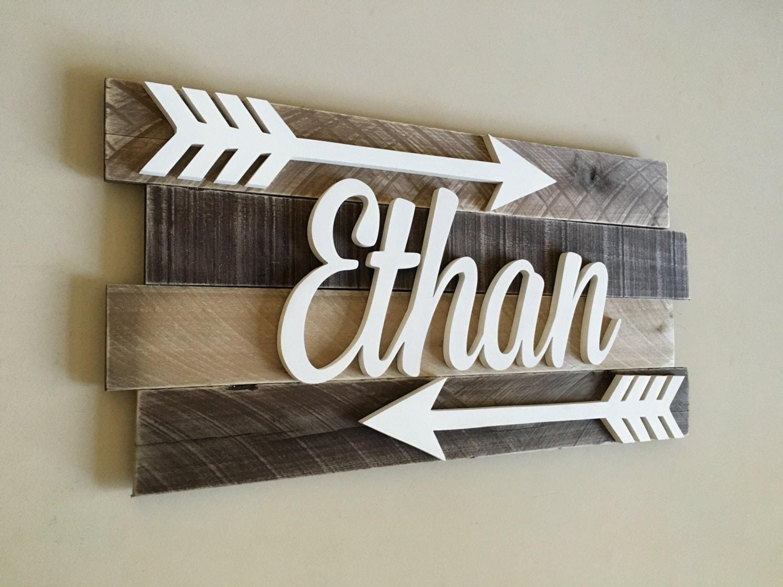 Nursery Reclaimed Wood Name Sign Distressed Nursery Name