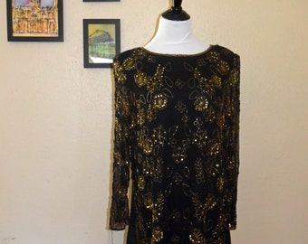 Vintage 1980s Black & Gold Sequin Tunic