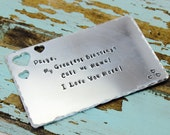 Wallet insert, hand stamped wallet card, custom wallet insert, personalized wallet card, personalized message, love note, men's gift