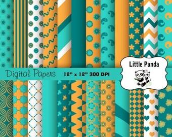 70% OFF SALE Orange Turquoise Teal Digital Paper - Digital Scrapbooking  - Instant Download - D239