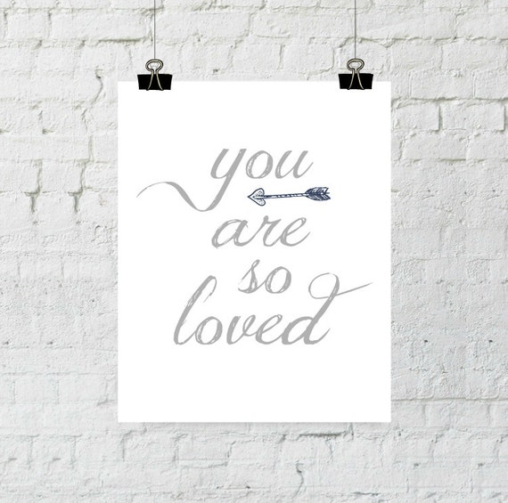 Nursery decor wall art, You Are So Loved, baby gifts, blue arrow print typography home decor printable instant download, ADOPTION FUNDRAISER
