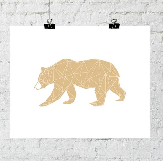 Forest Animals, Orange Artwork, Bears, Forest Nursery, Bear Printable, Forest Wall Art, Geometric Printable, Forest Decor, Woodland Animals