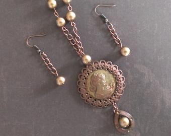 Cameo Necklace, Cameo Set, Earring Set, Copper Cameo Set, Necklace Set, Cameo and Earrings