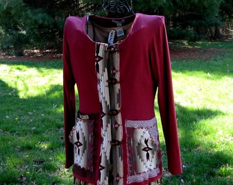 Was 128.00 Now 68.00 Wild Beauty Cardigan Wrap Altered Couture Eco-Clothes Wearable Art Jacket